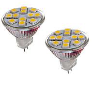 billige Bi-pin lamper med LED-2W GU4(MR11) LED-lamper med G-sokkel MR11 12 leds SMD 5050 Dekorativ Varm hvit Kjølig hvit 150-200lm 3000-3500/6000-6500K DC 12V