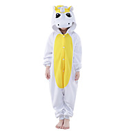 Kigurumi-pyjamas Unicorn Onesie-pyjamas Kostume Polarfleece Gul Blå Cosplay Til Børne Nattøj Med Dyr Tegneserie Halloween Festival /