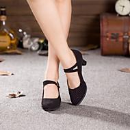 baratos Sapatilhas de Dança-Mulheres Sapatos de Dança Moderna / Dança de Salão Camurça Salto Salto Cubano Não Personalizável Sapatos de Dança Preto / Fúcsia