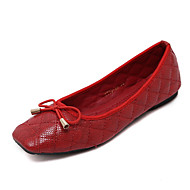Women's Flats Fall Ballerina Microfibre Casual Flat Heel Bowknot Black Red Royal Blue