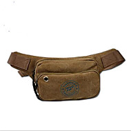 Men Bags Canvas leatherette Waist Bag Zipper for Casual Summer Brown