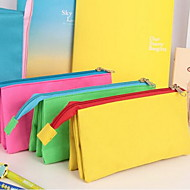 Simple Canvas Stationery Zipper Three Layer Large Capacity Multi-Function Pencil Case