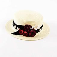 preiswerte Modische Accessoires-Damen Freizeit Frühling Sommer Leinen Sonnenhut, Solide Weiß
