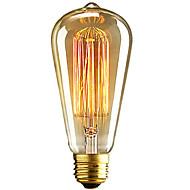 billige Glødelampe-1pc 40W E26 / E27 ST64 Varm hvit 2300k Kontor / Bedrift Mulighet for demping Dekorativ Glødende Vintage Edison lyspære 220-240V