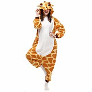 cheap -Adults' Kigurumi Pajamas Giraffe Onesie Pajamas Flannel Toison Orange Cosplay For Men and Women Animal Sleepwear Cartoon Festival / Holiday Costumes