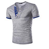 Herre - Ensfarvet Bomuld Sport T-shirt Navyblå L / Kortærmet / Sommer