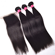 Peruvian Virgin Human Hair Straight With Closure 3 Bundles Straight Hair With Middle Free Three Part Lace Closures