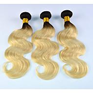 Ombre שיער ברזיאלי גלי שלושה חודשים 3 חלקים שוזרת שיער