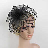 cheap Wedding Headpieces-Feather Net Fascinators Headwear with Floral 1pc Wedding Special Occasion Headpiece