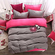 cheap Solid Duvet Covers-Duvet Cover Sets Solid 4 Piece Polyester Reactive Print Polyester 1pc Duvet Cover 2pcs Shams 1pc Flat Sheet