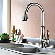 Contemporary Pull-out/Pull-down Deck Mounted Pullout Spray Ceramic Valve Single Handle One Hole Chrome Kitchen faucet