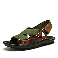 Men's Shoes Leather Summer Slingback Sandals For Casual Black Green