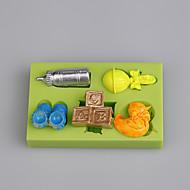 billige Bakeredskap-baby leketøy form fondant kake silikon mold dekorasjon verktøy fimo caly ramdon farge