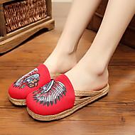 Feminino-Sandálias-Conforto-Rasteiro-Vermelho Azul-Borracha-Casual