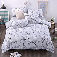 Bedtoppings Comforter Duvet Quilt Cover 4pcs Set Queen Size Flat Sheet Pillowcase Grey Flower Prints Microfiber