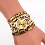 Kadın's Moda Saat Bilek Saati Bilezik Saat Quartz Renkli PU Bant Vintage Günlük Mat Siyah Bohem Havalı Siyah Beyaz Mavi Gümüş Kırmızı