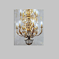E-HOME® Stretched LED Canvas Print Art European Style Chandelier LED Flashing Optical Fiber Print One Pcs