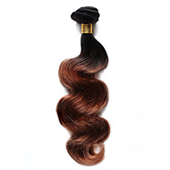 Φυσικά μαλλιά Ινδική Ombre Κυματομορφή Σώματος Προσθετική μαλλιών 1 Τεμάχιο Μαύρο / Medium Auburn
