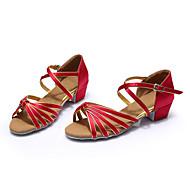 baratos Sapatilhas de Dança-Mulheres Sapatos de Dança Latina / Tênis de Dança Cetim Salto Cadarço Salto Robusto Personalizável Sapatos de Dança Azul / Preto /
