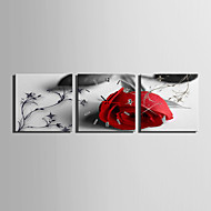 MINI SIZE E-HOME A Red Rose Clock in Canvas 3pcs Wall Clocks Decoration