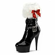 billige Skosalg-Dame Sko Fleece Lakklær Vinter Høst Trendy støvler Club Sko Lysende sko Støvler Stiletthæl Plattform Krystall Hæl Sløyfe til Bryllup