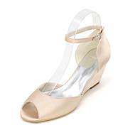 baratos Sapatos Femininos-Mulheres Sapatos Cetim Primavera / Verão Plataforma Básica Sapatos De Casamento Nulo Salto Plataforma Peep Toe Nulo Vazados Azul /
