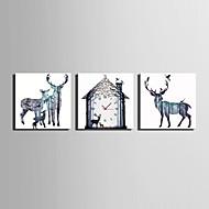 billige Lerretklokker-Moderne / Nutidig Dyr Wall Clock,Kvadrat Lerret 25 x 25cm(10inchx10inch)x3pcs Innendørs Klokke
