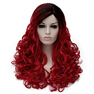 Syntetiske parykker Bølget Syntetisk hår Mørke hårrødder / Side del Rød Paryk Dame Medium Længde Lågløs Sort / Rød