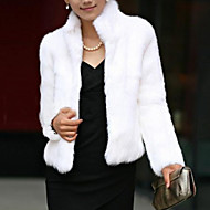 cheap -Women's Winter Short Fur Coat, Solid Colored Stand Long Sleeve Faux Fur Formal Style White / Black 4XL / XXXXXL / XXXXXXL