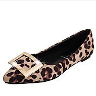 baratos Sapatos Femininos-Mulheres Sapatos Flanelado Primavera / Verão Conforto Rasos Sem Salto Franzido Preto / Cinzento / Leopardo