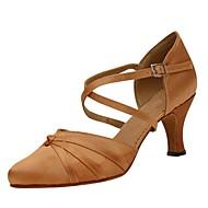 billige Moderne sko-Dame Sko til latindans / Moderne sko Sateng Sandaler / Høye hæler Drapert Kustomisert hæl Kan spesialtilpasses Dansesko Gul / Rød