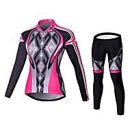 Malciklo Pentru femei Manșon Lung Jerseu Cycling cu Mâneci - Roz Geometic Englezesc Mărime Plus Size Bicicletă Dresuri Ciclism Set de Îmbrăcăminte Respirabil 3D Pad Uscare rapidă Sport Coolmax