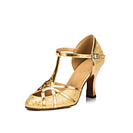 billige Moderne sko-Dame Salsasko Velourisert Sandaler / Høye hæler Gummi / Spenne Kubansk hæl Kan ikke spesialtilpasses Dansesko Svart / Sølv / Gylden / Innendørs