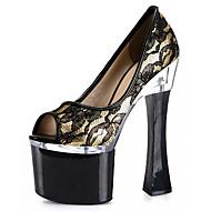 Feminino-Saltos-Plataforma Sapatos clube Light Up Shoes-Salto Grosso-Prateado Dourado-Flanelado Materiais Customizados-Social Casual