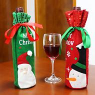 2個のホット販売のクリスマス装飾サンタクロース雪だるま赤ワインボトルカバー