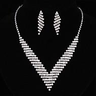 billiga Brudsmycken-Dam Smyckeset - Mode Omfatta Halsband / örhängen Silver Till Bröllop / Örhängen / Dekorativa Halsband