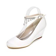 Žene Cipele Saten Proljeće Ljeto Obične salonke Vjenčanje Cipele Wedge Heel Okrugli Toe Štras Mašnica za Vjenčanje Zabava i večer Crvena