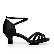 baratos Sapatilhas de Dança-Mulheres Sapatos de Dança Latina / Dança de Salão Cetim Salto Salto Robusto Não Personalizável Sapatos de Dança Preto / Vermelho / Azul Real / Couro