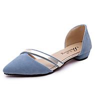 お買い得  レディースフラットシューズ-女性用 靴 PUレザー 夏 コンフォートシューズ フラット フラットヒール のために カジュアル ブラック ピンク ライトブルー ライトグレー