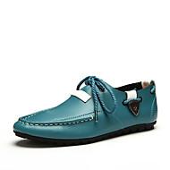 Herre Flate sko Lær Vår Sommer Avslappet Flat hæl Hvit Mørkeblå Grå Marineblå Under 2,5 cm