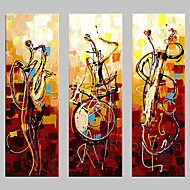 cheap Rolled Canvas Paintings-Oil Painting Hand Painted - Abstract Classic Traditional Painting Only / Three Panels