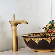 billige Rabatt Kraner-Baderom Sink Tappekran - Forskyll / Foss / Utbredt Antikk Kobber Centersat Enkelt håndtak To Huller