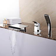Modern Tub Waterfall / Handshower Included with  Ceramic Valve 1- Handle 3- Holes for  Chrome  Bathtub Faucet