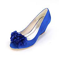 baratos Sapatos Femininos-Mulheres Sapatos Cetim Primavera / Verão Plataforma Básica Sapatos De Casamento Nulo Salto Plataforma Peep Toe Nulo Apliques Azul /