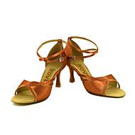 billige Sko til latindans-Dame Latin Salsa Silke Sateng Sandaler Høye hæler Innendørs Ytelse Profesjonell Nybegynner Trening Spenne Sløyfe Kustomisert hæl Bronse