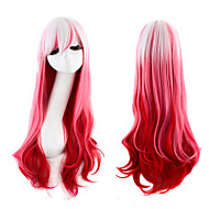 Lolita Fashion New Pink with White Color Body Wave Synthetic Cosplay Wigs