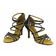 Moguće personalizirati-Ženske-Plesne cipele-Latino / Salsa-Svjetlucave šljokice-Potpetica po mjeri-Crna / Plava / Crvena / Srebrna /