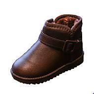 Jenter-PU-Flat hæl-Komfort-Støvler-Fritid-Svart / Rosa / Rød / Mørkerød / Nøgen