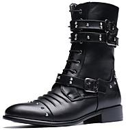 メンズ-カジュアル パーティー-化繊-チャンキーヒール ブロックヒール-ウエスタンブーツ-ブーツ-
