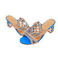 baratos Sapatos Femininos-Mulheres Sapatos Gliter / Couro Ecológico Verão Chanel Sandálias Caminhada Salto Robusto / Salto de bloco Dedo Apontado / Dedo Aberto